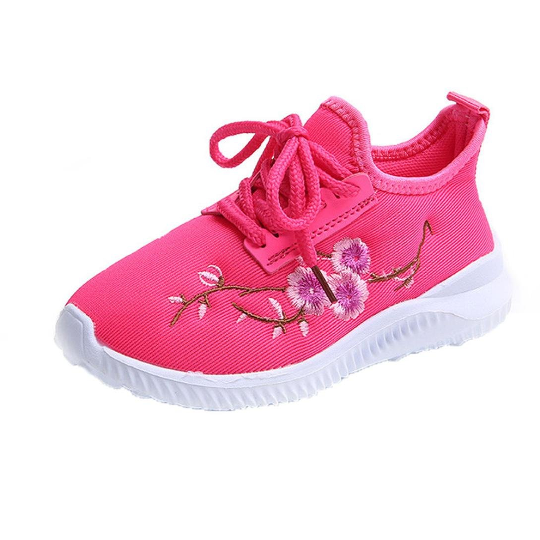 Fullfun Girl Boy Summer Embroidered Flat Casual Shoes Breathable Mesh Sneakers