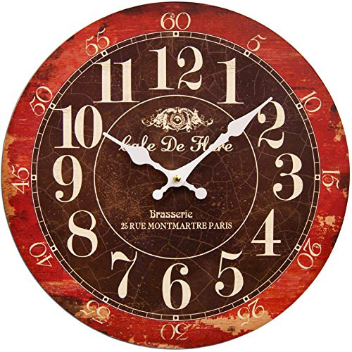 Round Black And Cherry Red Decorative Clock 13 x 13 inches Quartz movement