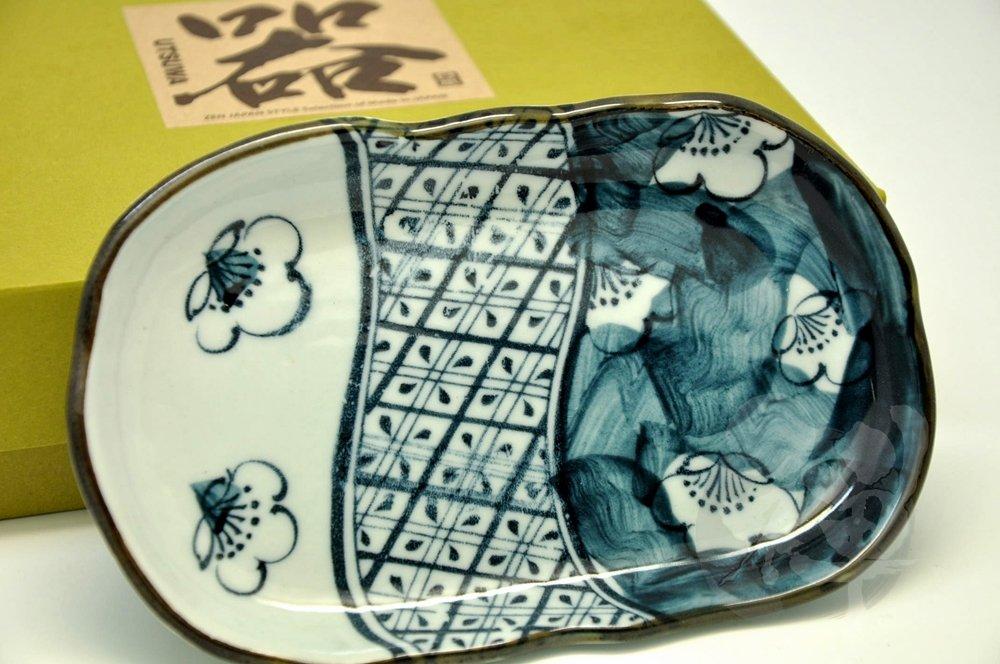 10.5 6.6 // 4.1 // 0.9inch 7254 2.5cm Japanese Mino yaki Dark Navy Plate 17