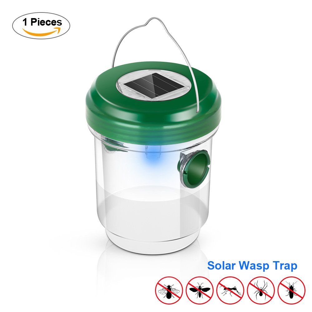 Elindio Wasp Trap Catcher Life Outdoor Solar Powered Flytrap Robots Can Hunt And Catch Bugs For Meals Fly With Ultraviolet Led Light Waterproof Trapping Bees Wasps Hornets