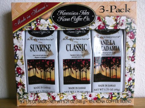 Hawaiian Isles Kona Coffee Co. 3-pack Gift Set