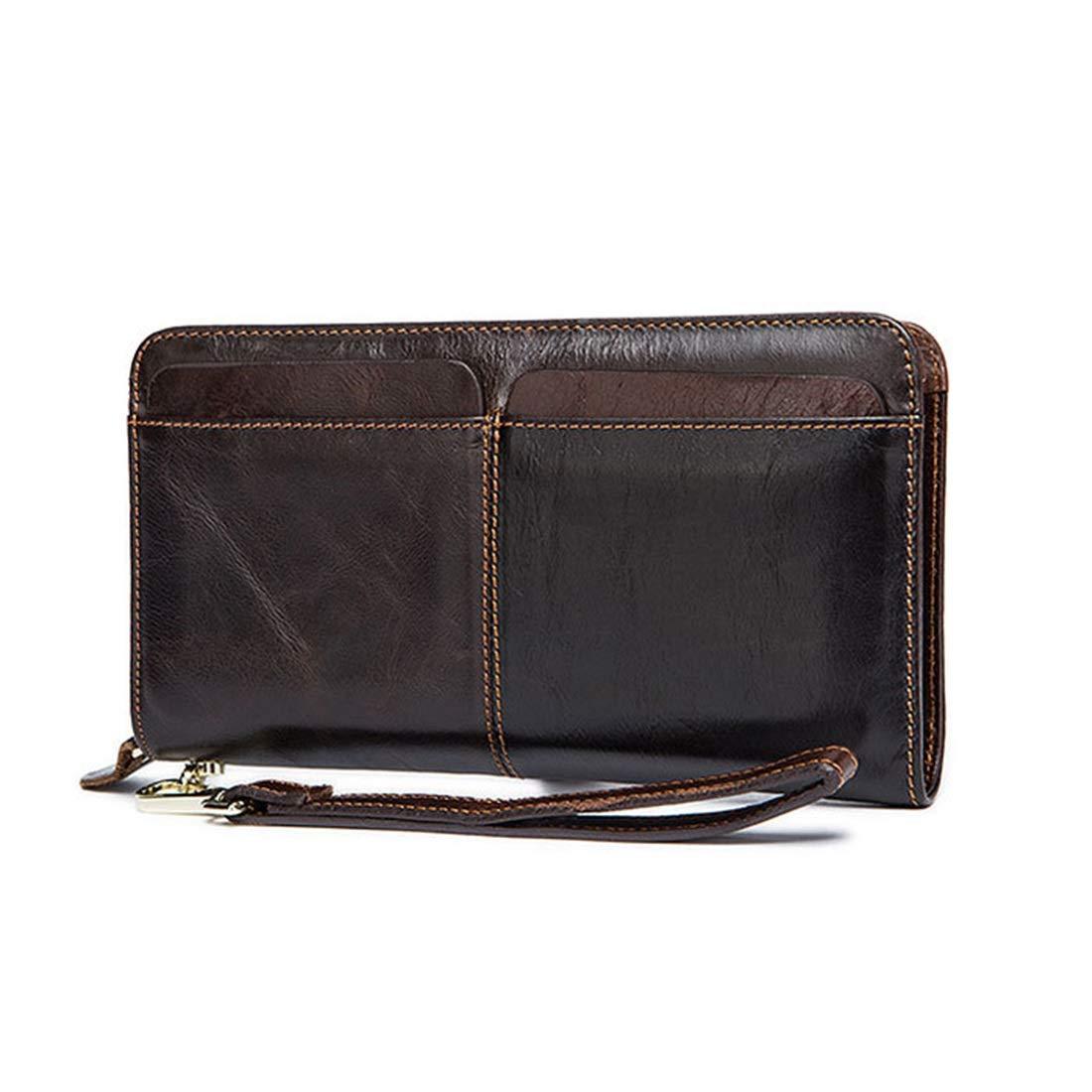 KRPENRIO Zipper Long Wallet Mens Men Business Card Holder Coin Purse Mens Wallet Popular Leather Made