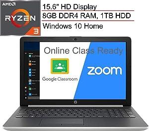 "(Renewed) HP 15 15.6"" Laptop Computer/ AMD Ryzen 3-2200U Up to 3.4Ghz (Beats i5-7200U)/ 8GB DDR4 RAM/ 1TB HDD/ AC WiFi/ Webcam/ Microphone/ Online Class Ready/ Silver/ Windows 10/ SPMOR MousePad"