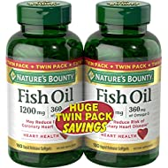 Nature's Bounty Fish Oil Pills and Omega 3 Dietary Supplement, Supports Cardiovascular and Heart Health, 1200mg, 180 Softgels, 2 Pack