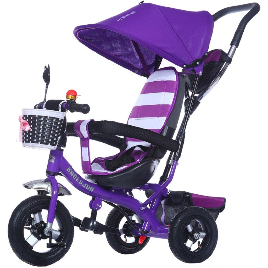 KANGR-子ども用自転車 多機能4-in-1チャイルド三輪車キッドトロリープッシュハンドルステーラー自転車折り畳み式抗UV日よけ| 1-3-6歳の少年少女と赤ちゃんのおもちゃ|ブレーキ付3輪バイク|パープル ( 色 : B型 bがた ) B07BTMJVF9 B型 bがた B型 bがた