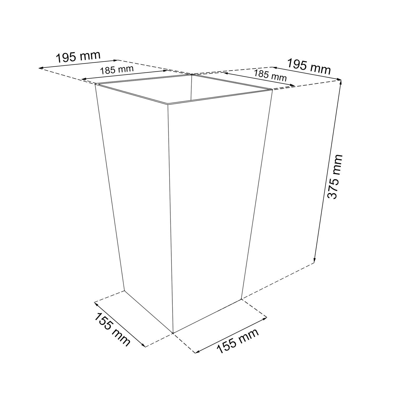Vaso per piante Rato Square Simil Rattan 8,8L Con Inserto colore: Bianco by Stolmet (8,8 L)