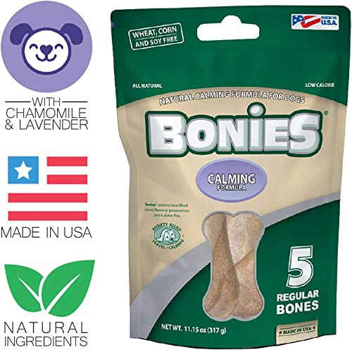 BONIES Natural Calming Multi-Pack Large for Dogs 25 LBS or More – Natural Dog Treat – Low Calories – Chicken Flavor – 5 Bones
