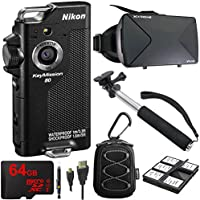 Nikon KeyMission 80 Full HD Action Camera w/ VR Vue Virtual Reality Viewer, 64GB MicroSDXC Memory Card, All Weather Sport Case, Telescopic 43 Selfie Stick and More!