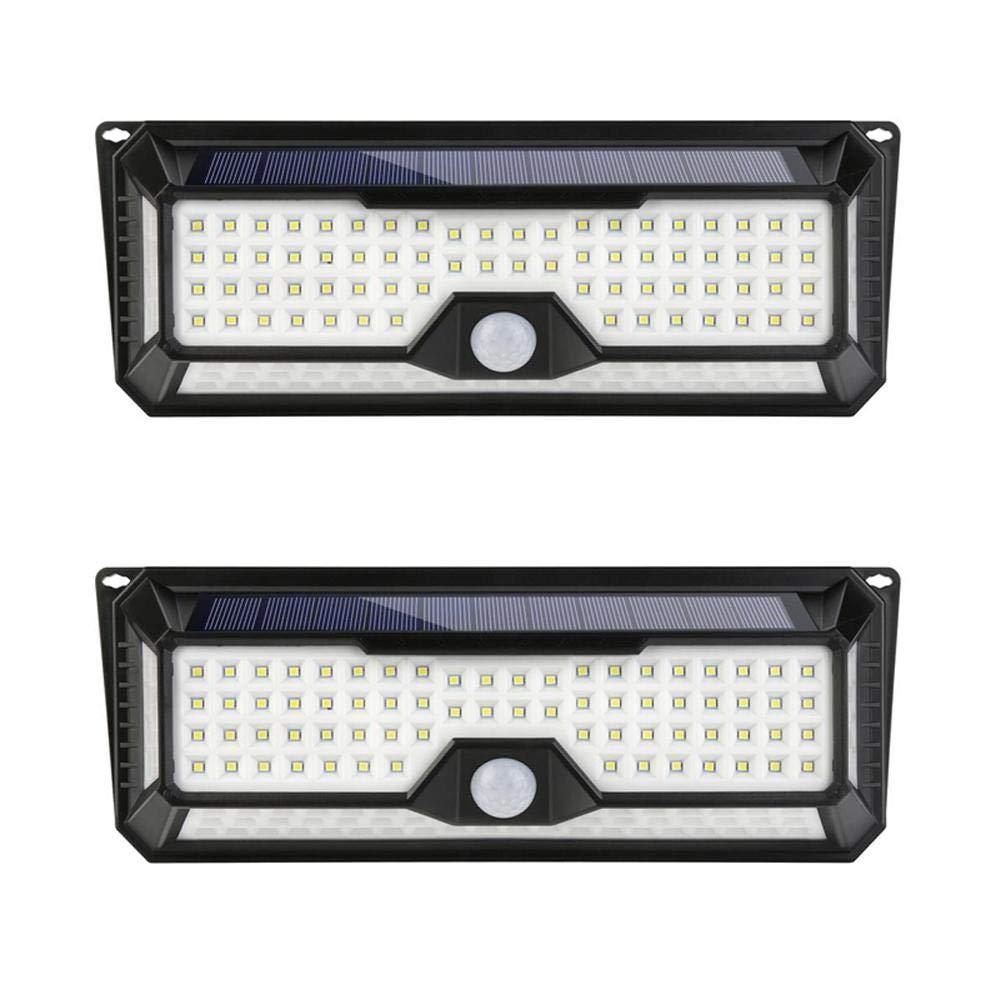 Starnearby 2 pezzi Solar 136 LED 1300 lm PIR rilevatore di movimento lampada da parete opaco IP65 impermeabile esterno giardino di sicurezza luci, 2stk 136 Led, 300.00  110.00  50.00