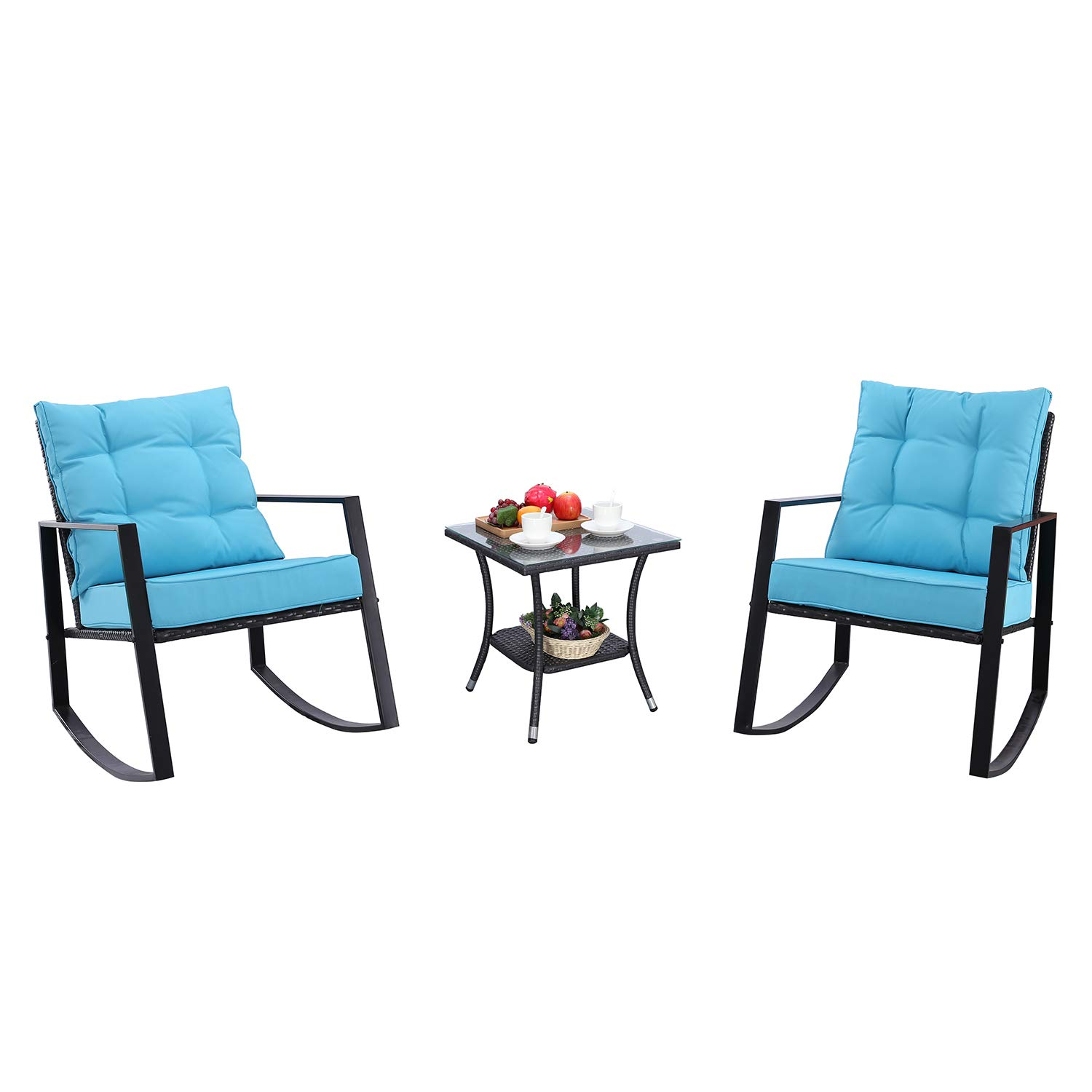 HTTH 3 Pieces Outdoor Rocking Chair Bistro Set Steel Furniture,Rattan Chair Conversation Sets with Coffee Table