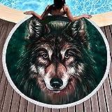 Sleepwish Wolf Beach Towel Thick Animal Round Beach Blanket for Adults Wolves Beach Throw Tapestry Roundie Towel Blanket (Black, 60 inch)