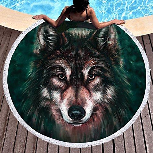 Sleepwish Wolf Beach Towel Thick Animal Round Beach Blanket for Adults Wolves Beach Throw Tapestry Roundie Towel Blanket (Black, 60 inch) by Sleepwish
