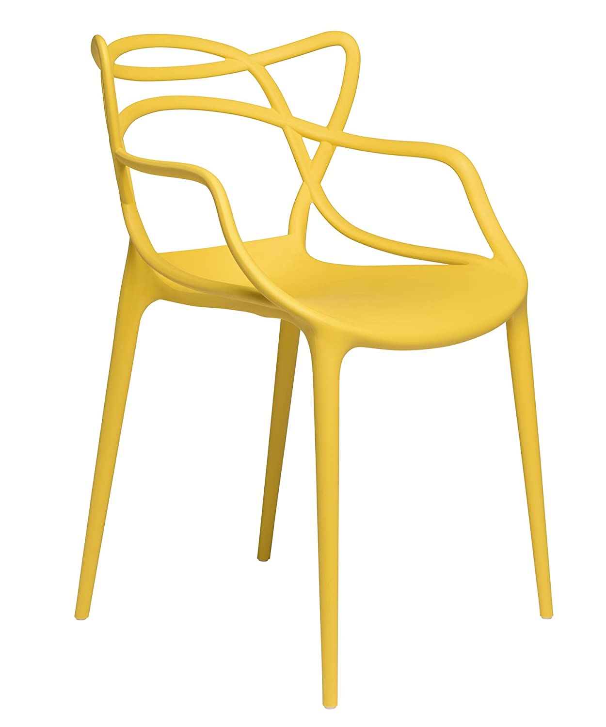 Set of 2 - Masters Entangled Chair Replica - Modern Designer Armchairs for Dining Rooms, Offices and Kitchens (Yellow)