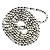 HUELE 40PCS Ball Bead Chain, 24 Inches Adjustable Nickel Plated Ball Chain (2.4mm Bead)