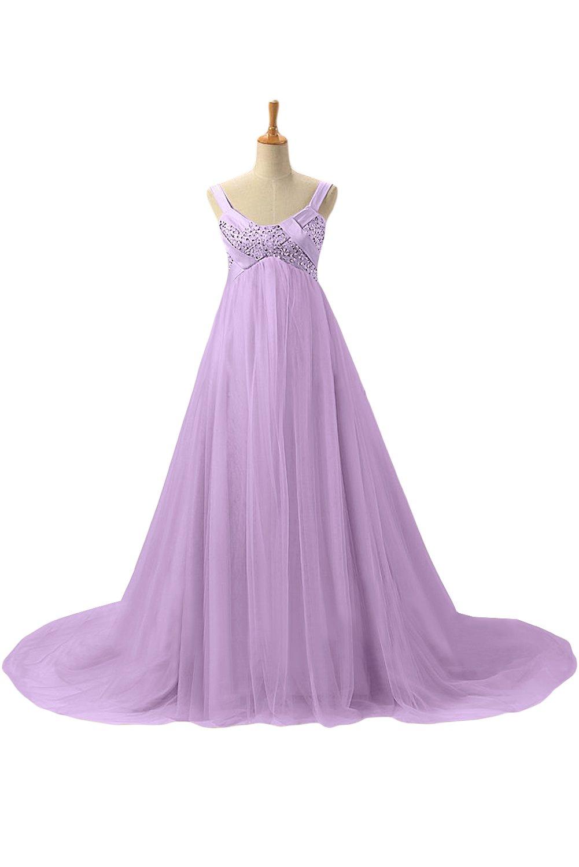 DressyMe Womens Royal Maternity Dresses Empire-Waist Spaghetti Straps Party Dress-18W-Lilac