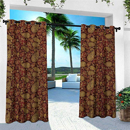 leinuoyi Paisley, Outdoor Curtain Ends, Oriental Damask Ethnic Leaves Middle Age Ottoman Art Inspired Boho Design, Outdoor Patio Curtains W96 x L108 Inch Redwood and Amber