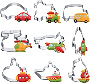 Transportation Vehicles Cookie Cutters Set - 9 PCS Stainless Steel Biscuit Cutter Mold- Airplane, Car, Train, Ship, Sailboat,Submarine,Rocket,Bus,Helicopter