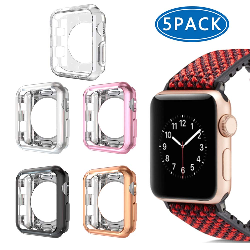 Compatible with Apple Watch 3 Case 38mm,5 Pack iHYQ Slim Soft TPU iWatch Cover Frame Protector Bumper for Apple Watch Series 3, 2,1 Accessories (Black+Silver+Rosegold+Pink+Clear, 38mm) by iHYQ