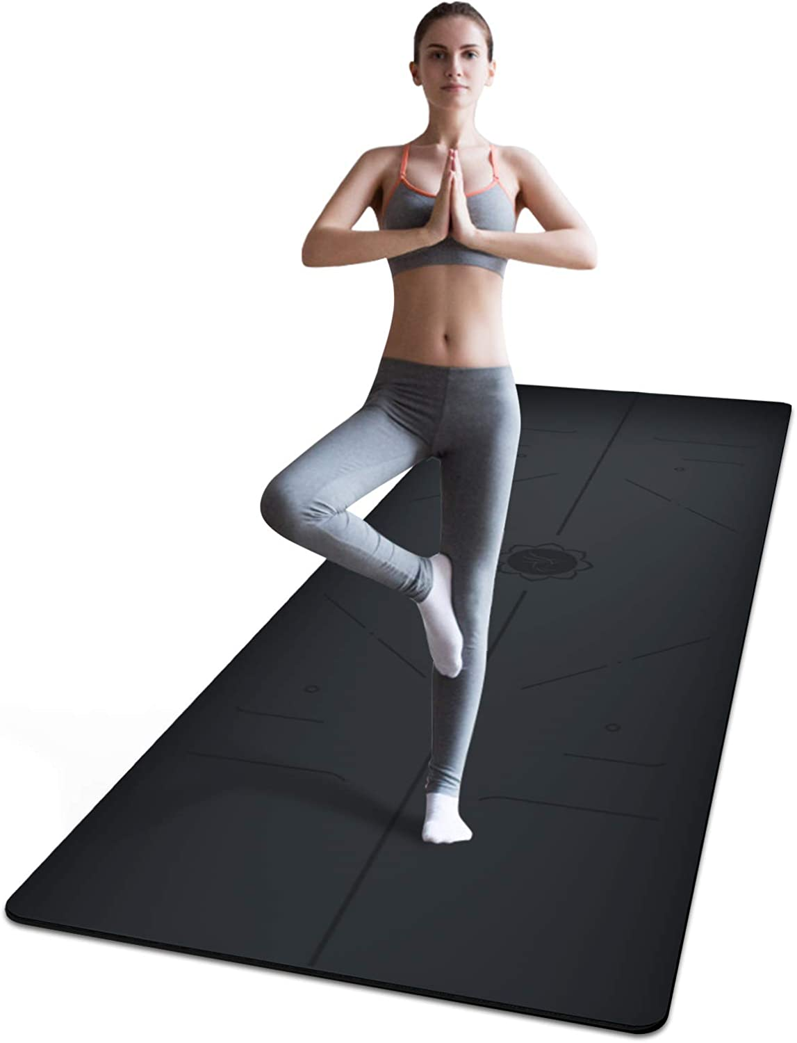 """PU Rubber Eco Friendly Material for Hot Yoga and Bikram Free Carry Strap Wunder Pilates Non Slip Yoga Mat 5mm Odorless Lightweight and Extra Large Size 72/""""X26/"""""""