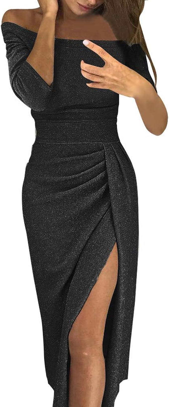 Beikoard Damen Schulterfrei Kleider Cocktailkleid Kleider für Hochzeit  Elegant Maxikleider Partykleid Wickelkleid Lange Kleider Abendkleider 17  Farbe