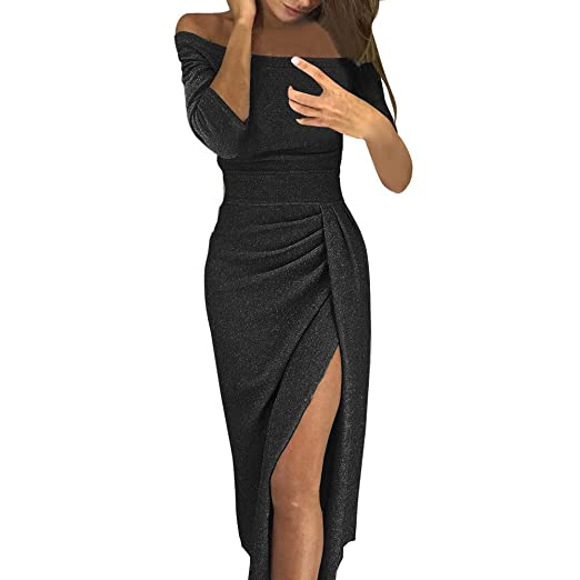 62af041e35c Fashion99 Women Off Shoulder High Slit Bodycon Dress Long Sleeve Sexy  Dresses (Black, S