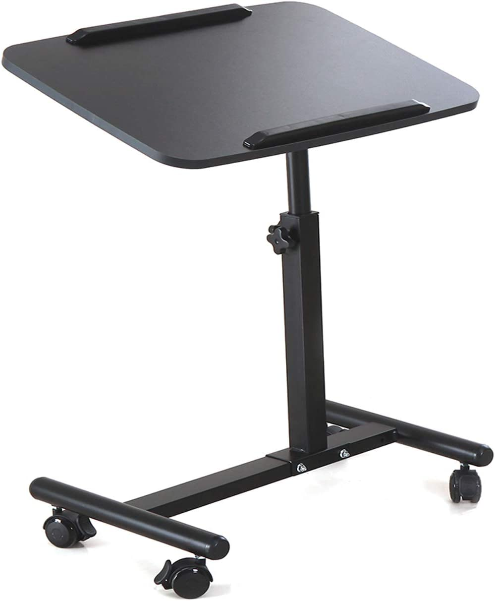 NOVII Mobile Laptop Computer Desk Cart, Angle & Height Adjustable Cost-Effective Rolling Workstation, Sofa/Bed Side Table Table Stand, That Also Works Great as a Lectern/Podium(Matte Black)