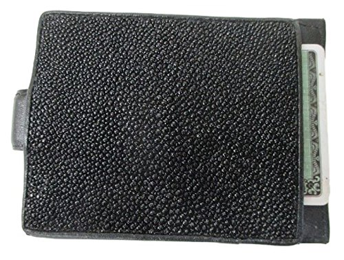 Drumsurn Imports Genuine Stingray Leather Money Clip Wallet Credit Card Holder for Men, Black