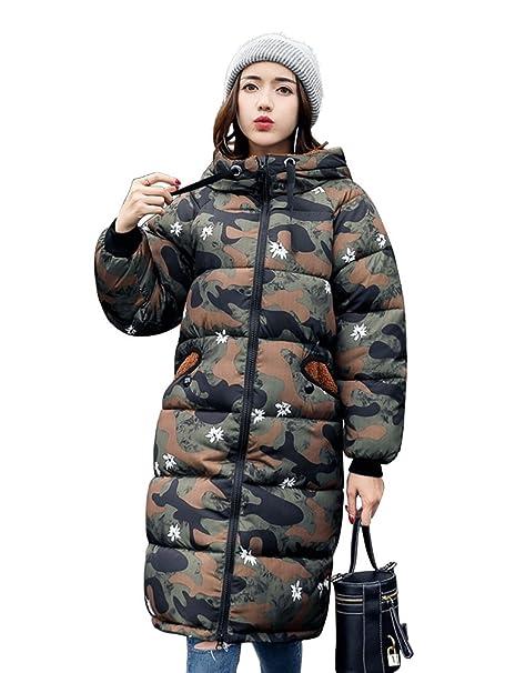 OCHENTA Mujer Abrigos Medio chaquetas Invierno Caliente Con capucha lindo Camuflaje Abrigos Nieve Ejercito verde Etiqueta XL-ES 42: Amazon.es: Ropa y ...