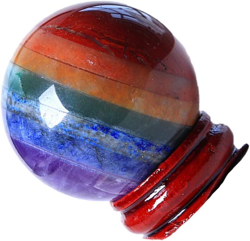 Happyyami Chakra Stones Balls Crystal Quartz Stone Balls Chakra Healing Crystal Gemstone Ball Divination Sphere Sculpture Figurine on Stand Healing Reiki Decor Table Centerpiece