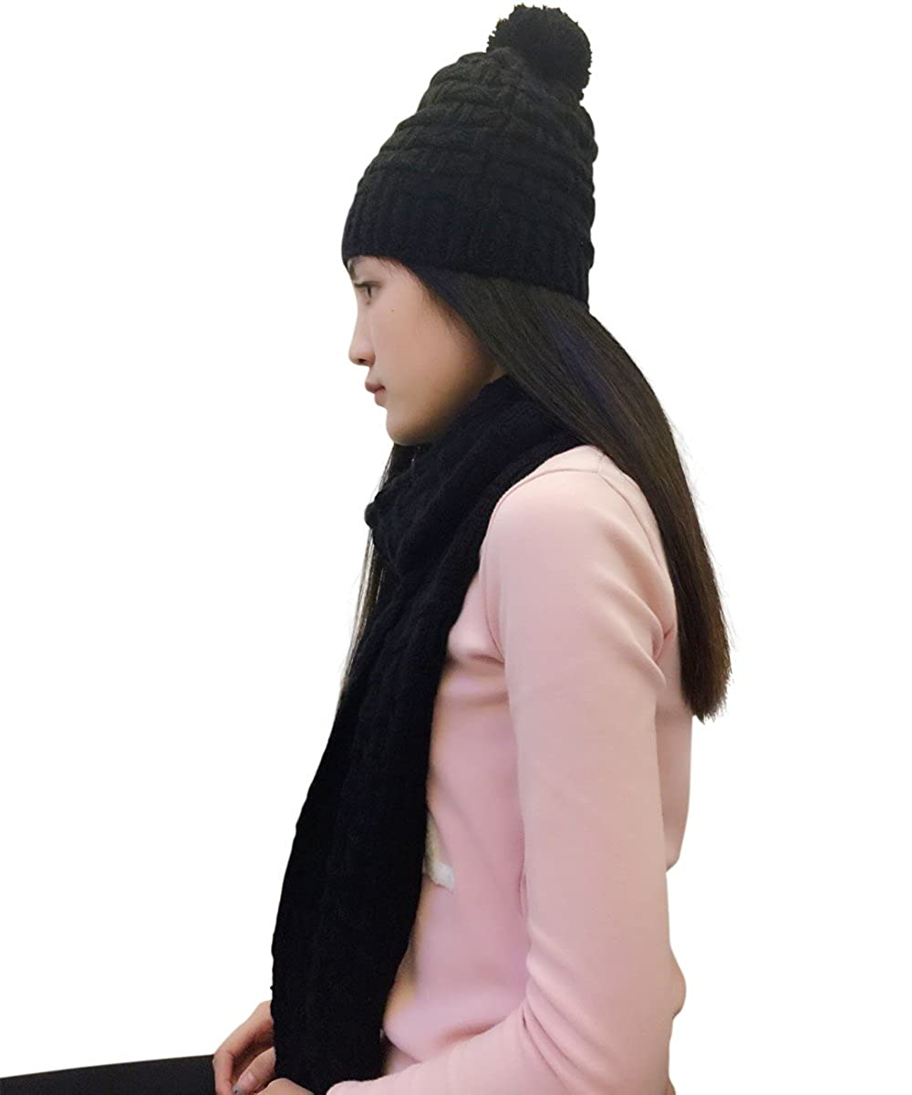409f67dbc38 Lanzom Women Lady Fashion Winter Warm Knitted Hat and Scarf Set Skullcaps ( Black) at Amazon Women s Clothing store
