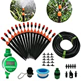 DIY 50FT Micro Drip Irrigation System with Hose Faucet Timer Dripper Sprinkler Plant Irrigation Kit Irrigation Pipe, Irrigation Spray for Flower, Lawn, Patio, Garden Greenhouse Plants