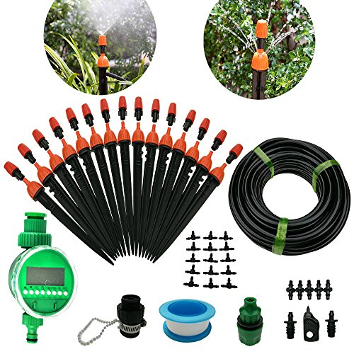 DIY 50FT Micro Drip Irrigation System with Hose Faucet Timer Dripper Sprinkler Plant Irrigation Kit Irrigation Pipe, Irrigation Spray for Flower, Lawn, Patio, Garden Greenhouse - Hot Link Emitter