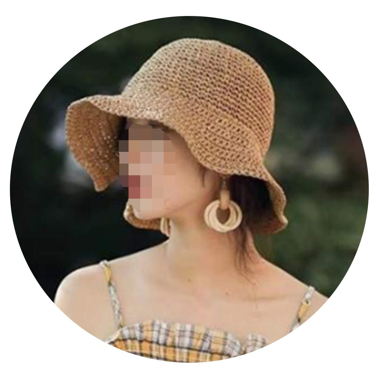 Sun Hat Wide Brim Floppy Summer Hats for Women Beach Straw Dome Bucket Hat Femme Shade Hat,Beige,Adult 56-58CM
