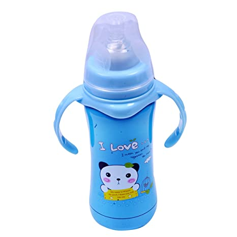 e2ae739d6cf Guru Kripa Baby Products Food Grade Cartoon Print Stainless Steel Thermos  Flask Vacuum Feeding Bottle With Straw And Sipper Water Bottle- Blue