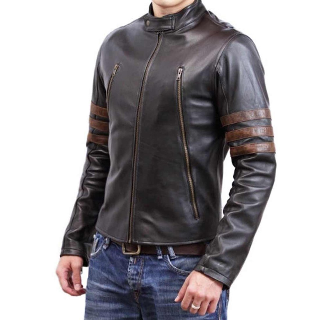 X Men Hugh Jackman Origins Wolverine Brown Motorcycle Logan Leather Jacket The Custom Jacket