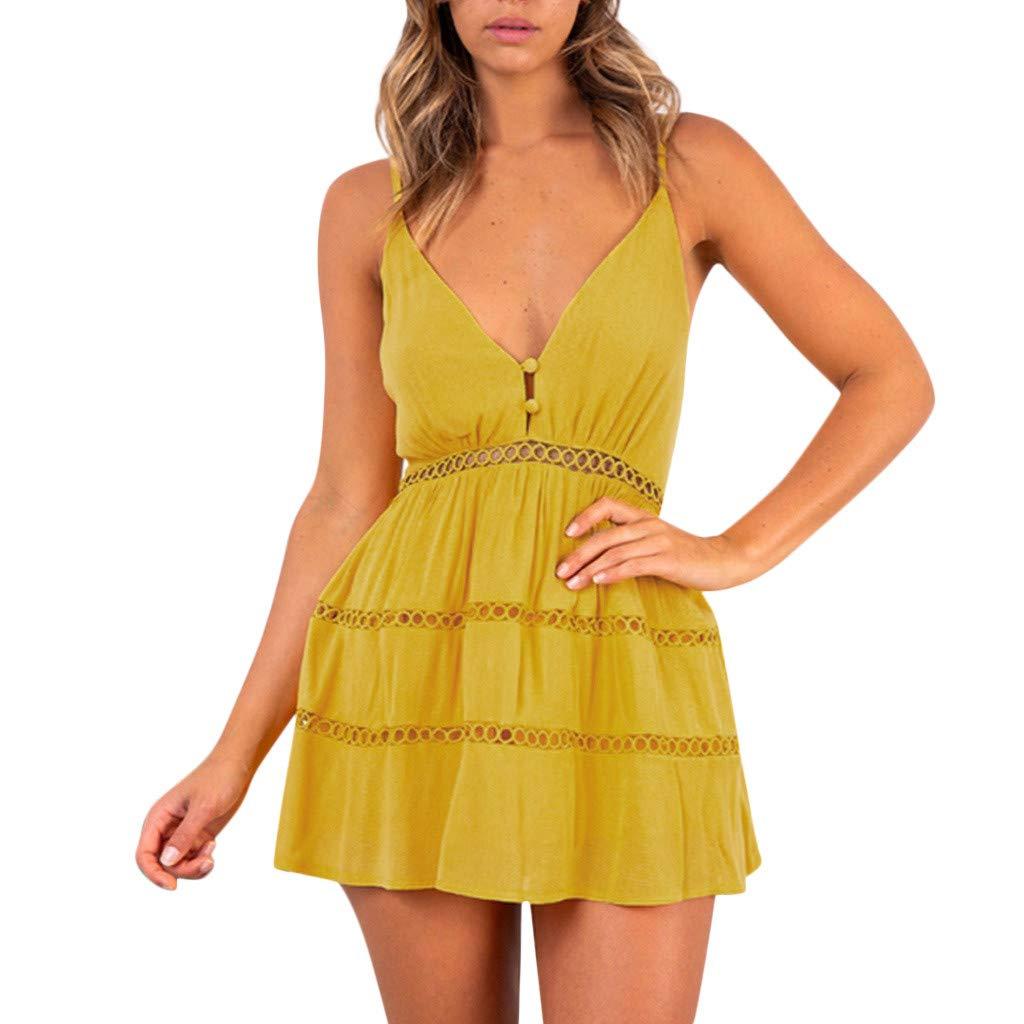 79a6c011e04 Amazon.com  Gyouanime Women Dress Halter Neck Short Mini Skirts Lace  Evening Party Beach Dress Beachwear Sundress  Clothing