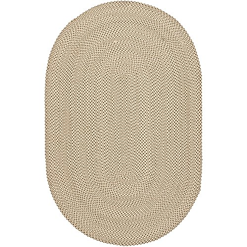Safavieh Braided Collection BRD173A Hand Woven Beige and Brown Oval Area Rug (3' x 5' -