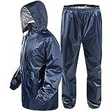 Zacharias Men's Reversible Double Layer Raincoat Rain Suit (Blue; Free Size)