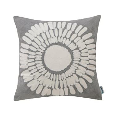 HWY 50 Cotton Embroidered Decorative Throw Pillow Covers Cushion Cases for Couch Sofa Bed Living Room Grey Gray Euro Big Sunflower Decor Floral Pattern 18 x 18 inch 45 x 45 cm, 1 Piece