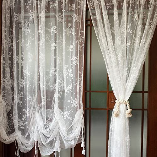 LELVA White Lace Embroidered Sheer Ballon Curtains 1-Panel Floral Tulle Curtains for Drapes Each Panel W78 x L90