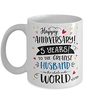 5th Wedding Anniversary Gifts For Him - Greatest Husband Mug - 5 Five Year Married Fifth  sc 1 st  Amazon UK & 5th Wedding Anniversary Gifts For Him - Greatest Husband Mug - 5 ...