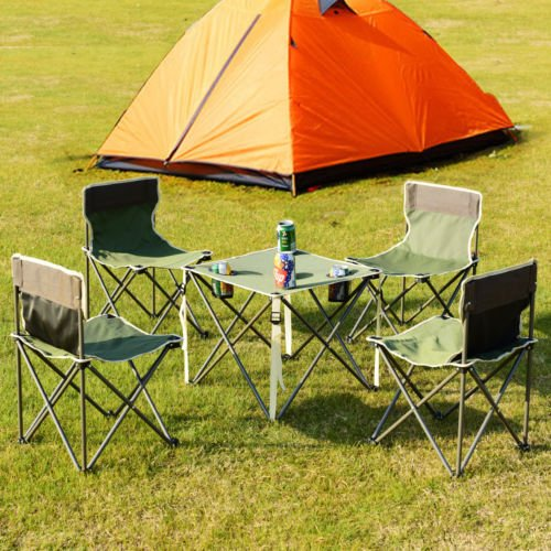 lunanice Green Portable Folding Table Chairs Set Outdoor Camp Beach Picnic w/Carrying Bag