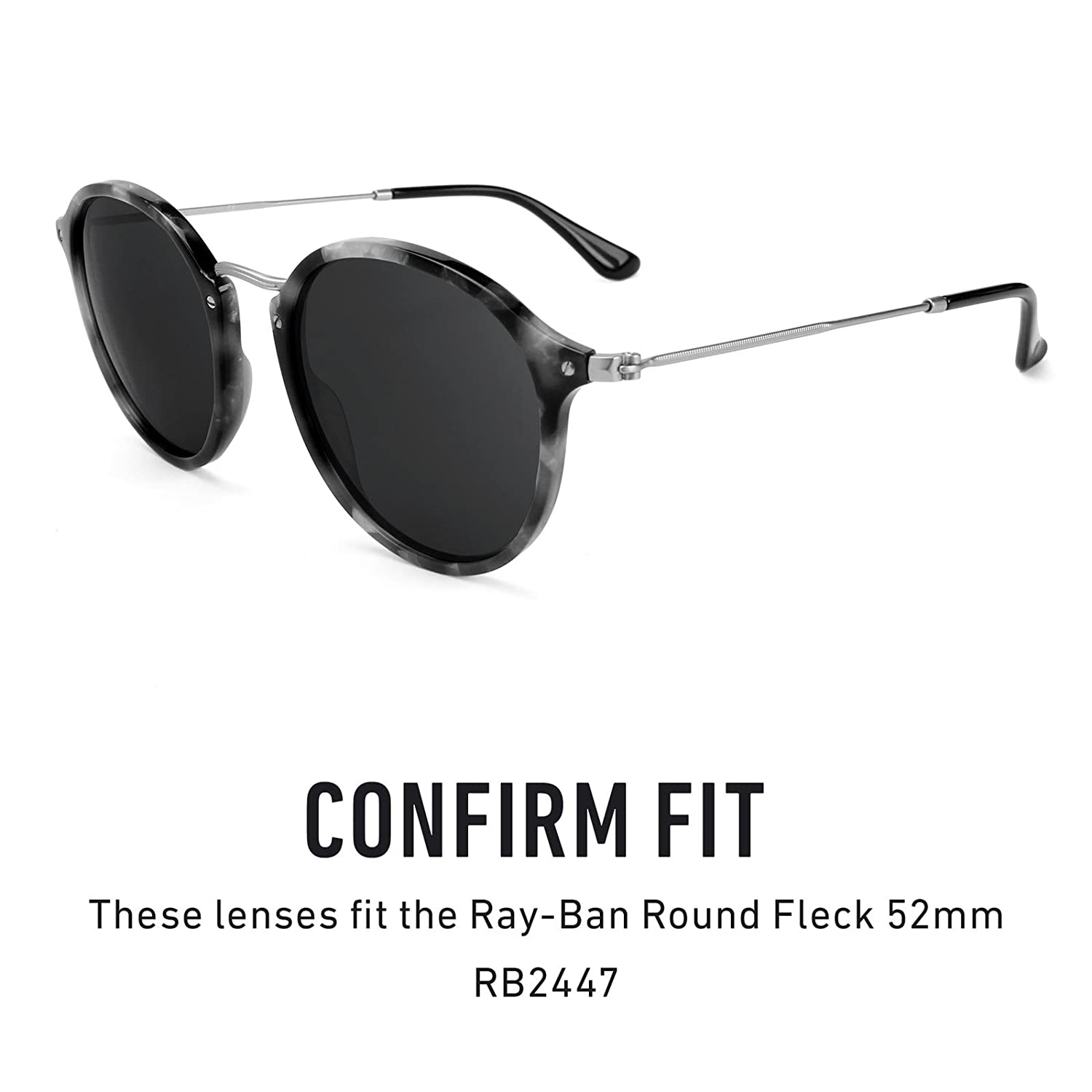5ac1ea7d9f Amazon.com  Revant Polarized Replacement Lenses for Ray Ban Round Fleck  52mm RB2447 Black Chrome MirrorShield  Sports   Outdoors