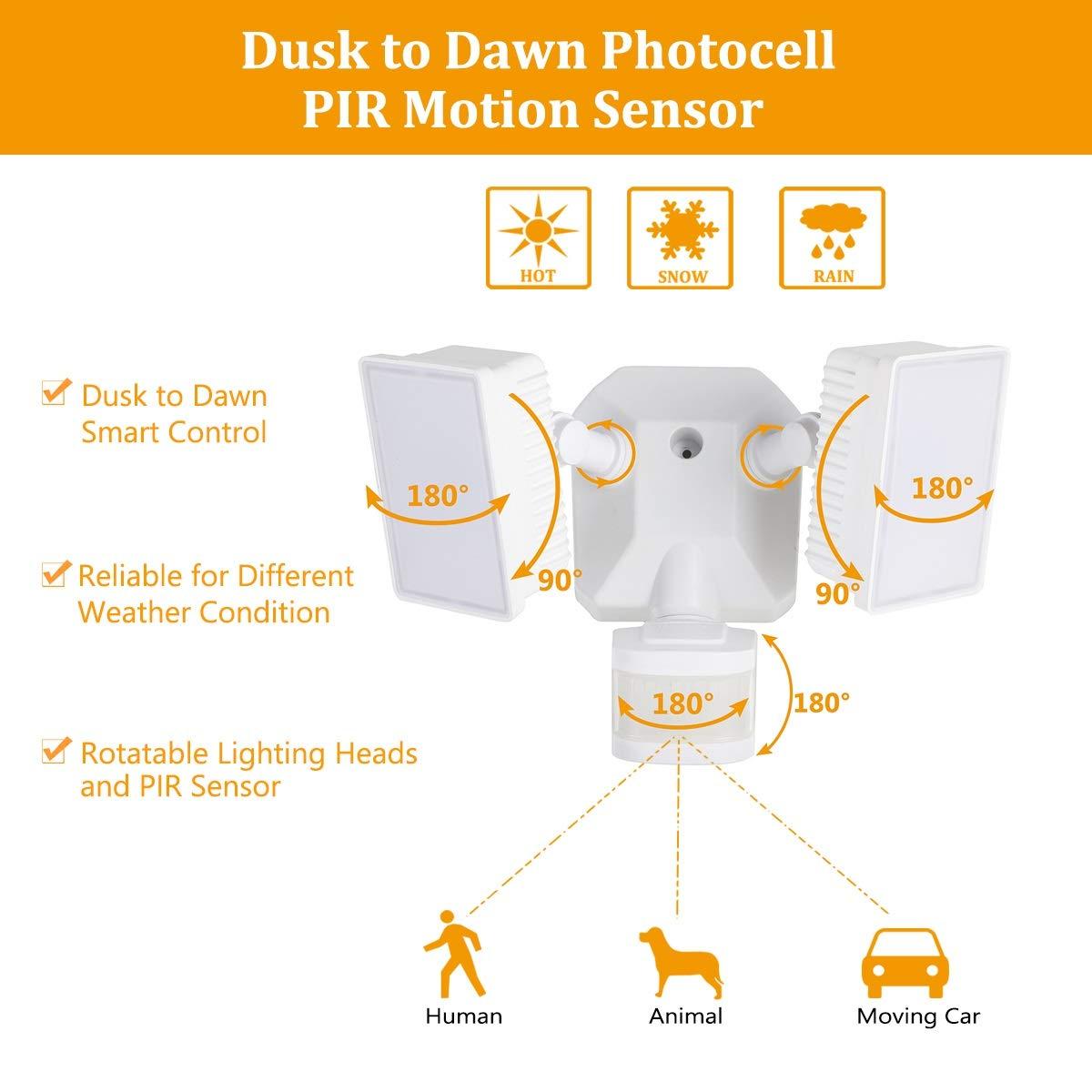 Dusk-to-Dawn Security Lights with Motion Sensor, 5000K Daylight White, ETL Certified, IP65 Outdoor, 110V 120V Dual-Head Rotatable LED Flood Light for Porch, Garage, Yard, Driveway, EMANER