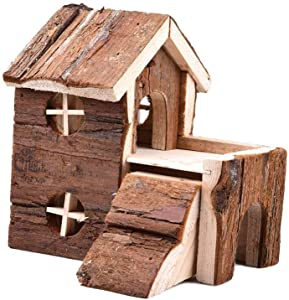 Wood Hamster House Small Animal Two Layers Home Deluxe Gerbils Hideout Home Playground Hamster Play Chews Toy for Mouse and Dwarf Hamster Mice