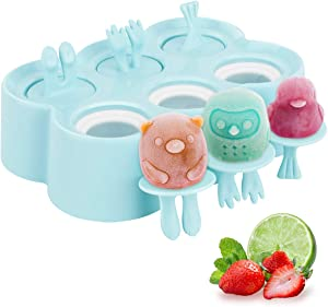 Housolution Cartoon Ice Pop Maker, 6 Pieces Food-Grade Silicone Popsicle Makers Reusable Ice Cream Makers with Sticks, Easy Release & Clean for Family DIY Homemade Popsicle - Blue