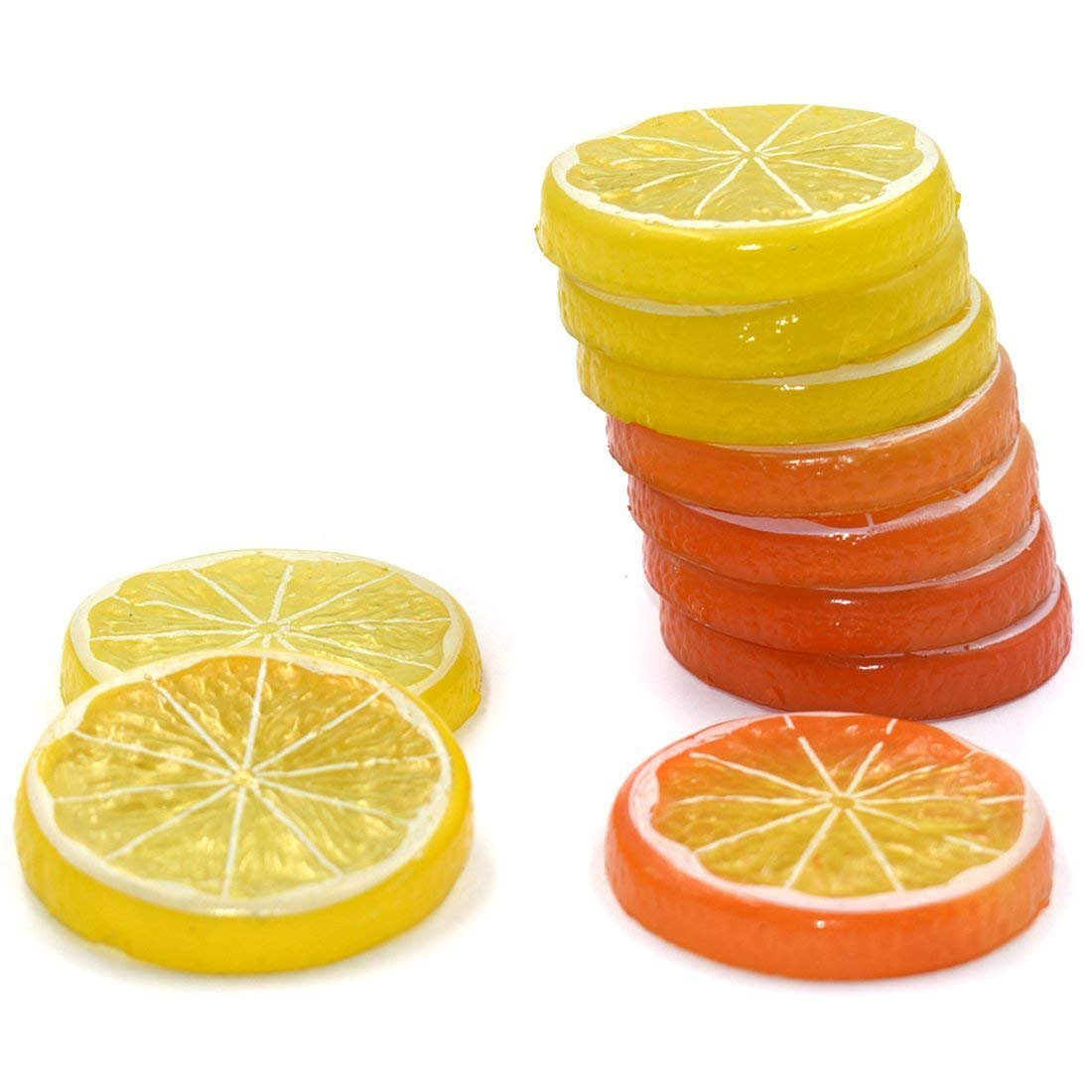 DLUcraft 10PCS Yellow Orange Highly Simulation Fake Lemon Slice Mixed color Artificial Fruit Model Home Party Decoration