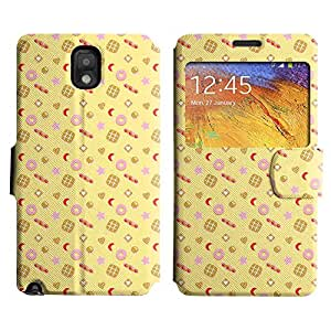 Be-Star Diseño Impreso Colorido Slim Casa Carcasa Funda Case PU Cuero - Stand Function para Samsung Galaxy Note 3 III / N9000 / N9005 ( Yummy Food )