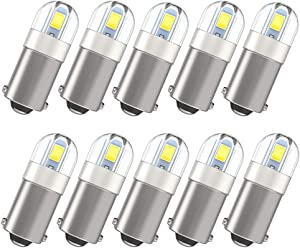Super Bright BA9 BA9S 53 57 1895 64111 LED Bulbs for Instrument Cluster Door Courtesy Map License Plate Light on RV Camper Trailer, Xenon White 10 Pack