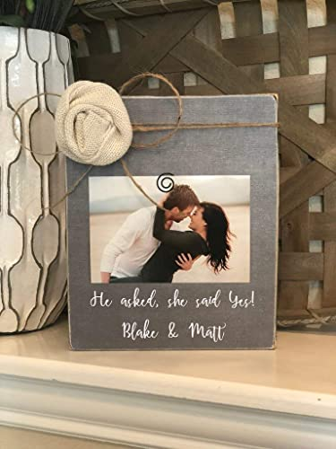 com he asked she said yes personalized engagement gift
